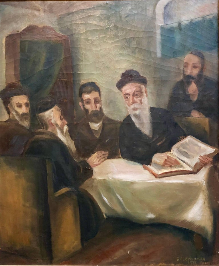 Rare French, Paris 1935 Judaica Oil Painting Rabbis Studying S. Fleischman - Brown Interior Painting by Unknown