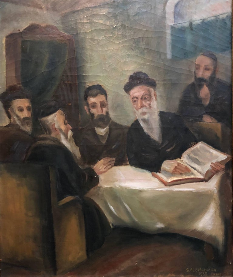 Rare Judaica Art. Jewish genre scene. In the tradition of Moritz Oppenheim, Isidor Kauffman and Maurycy Gottlieb and later of Tully Filmus, Zalman Kleinman and Itshak Holtz the artist captures this Jewish scene with a particular sensitivity. Part of