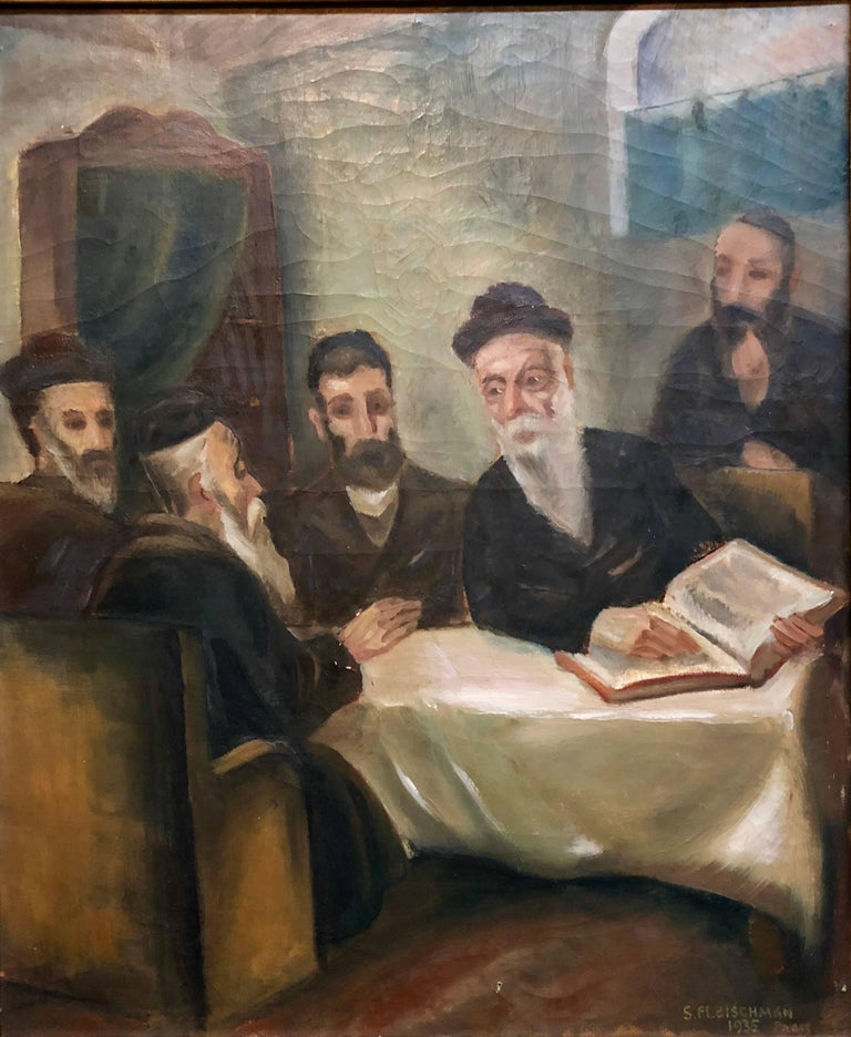 Rare French, Paris 1935 Judaica Oil Painting Rabbis Studying S. Fleischman For Sale 1
