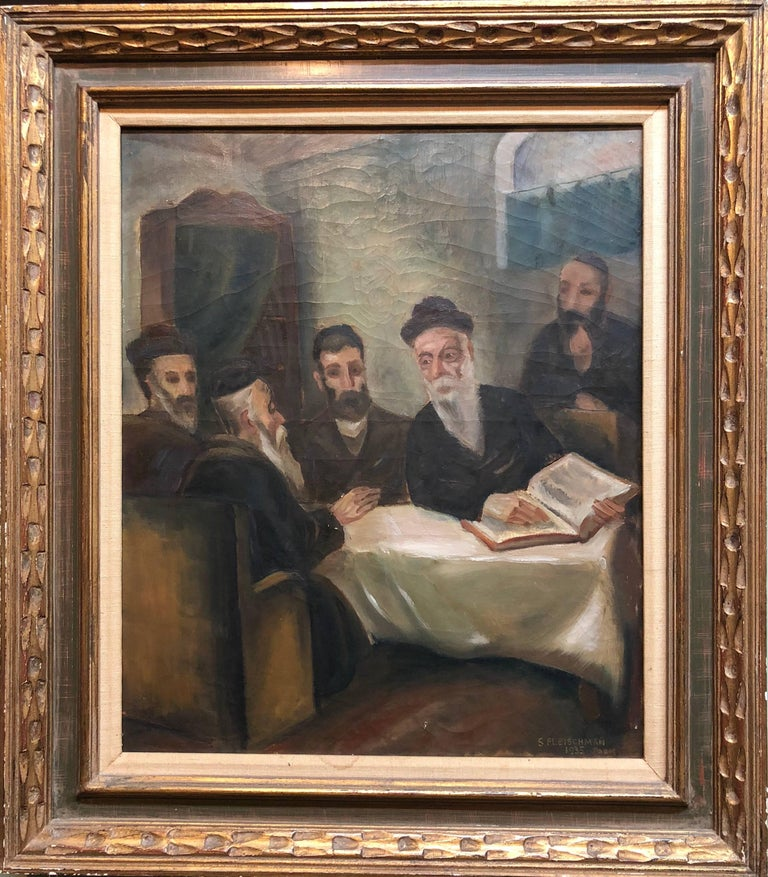 Unknown Interior Painting - Rare French, Paris 1935 Judaica Oil Painting Rabbis Studying S. Fleischman