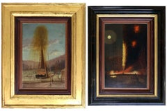 Rare Pair of Late 19th Century Oil Well Derrick Signed Paintings