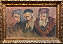 Rare Russian Judaica Oil Painting Jewish Pogrom Refugees Signed in Cyrillic