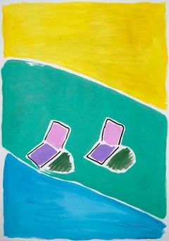 Reclining Chairs at Pool House, Garden Painting on Paper, Hockney Style, 2021