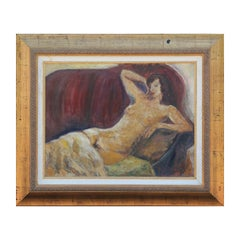 Red Toned Reclining Impressionist Nude Portrait