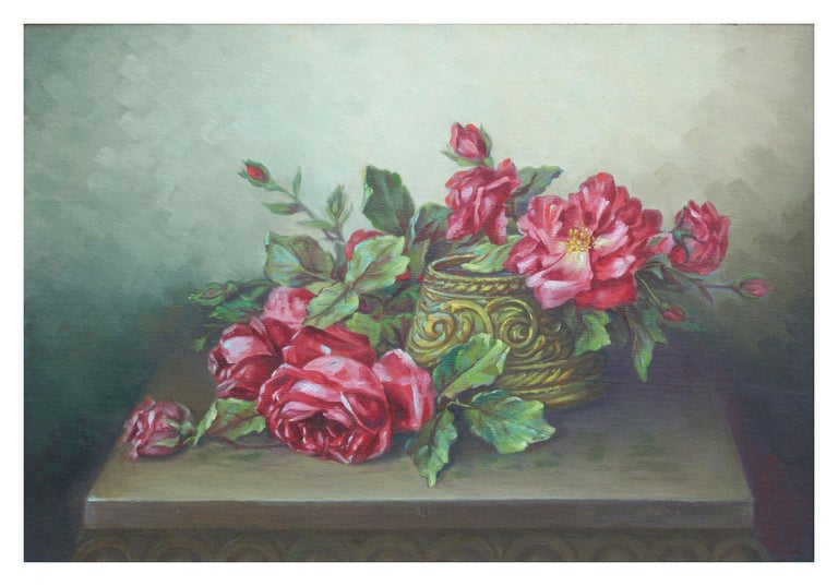 Red Garden Roses Still Life  - Painting by Unknown