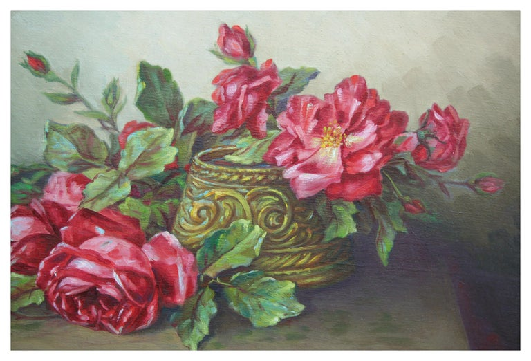 Red Garden Roses Still Life  - American Impressionist Painting by Unknown