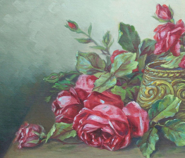 Red Garden Roses Still Life  - Gray Still-Life Painting by Unknown