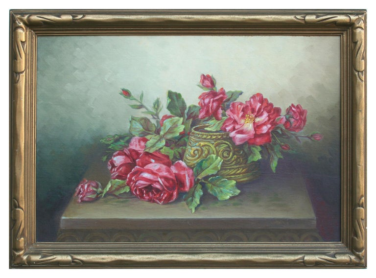 Unknown Still-Life Painting - Red Garden Roses Still Life