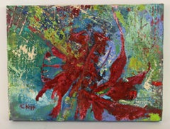 Red Sunburst Abstract Painting