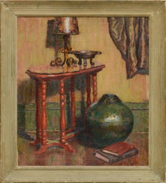Interior of Red Table and Green Vase