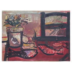 Red Tonal Still Life With Fish in Style of Henri Matisse