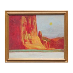 Red Toned Abstract Impressionist Desert Landscape