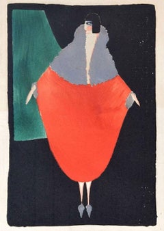 Red Woman / Original Woodcut hand colored in Tempera on Paper - Art Deco - 1920s