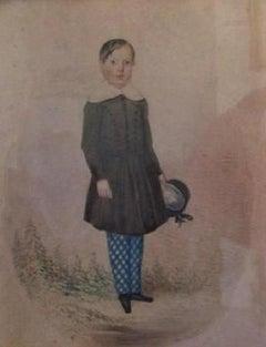 Regency  Portrait Of A Young Boy- portrait painting ,Watercolour,19th century