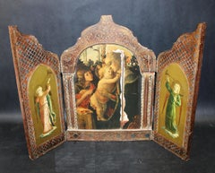 Religious Wooden Triptych Icon Depicting Madonna, Christ & Angels