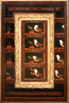 Renaissance Style Panel Still Life Of Birds & Cherries
