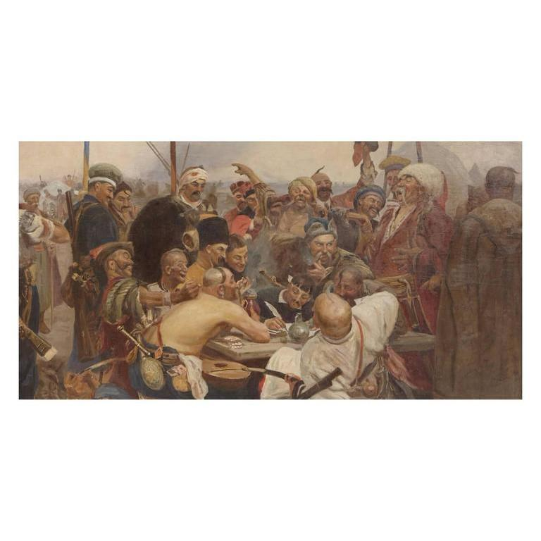 Reply of the Zaporozhian Cossacks to Sultan Mehmed IV of the Ottoman Empire, also known as Cossacks of Saporog Are Drafting a Manifesto.  Late 19th Century.  Monumental oil on canvas, set within an original carved giltwood frame. Unsigned.