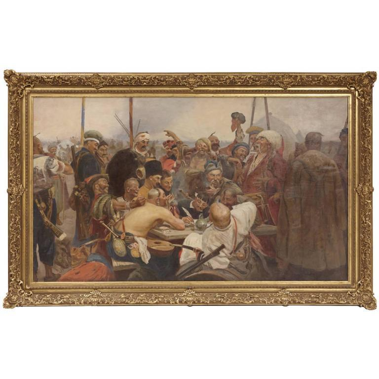 Unknown Figurative Painting - Reply of the Zaporozhian Cossacks to Sultan Mehmed IV Painting after Ilya Repin