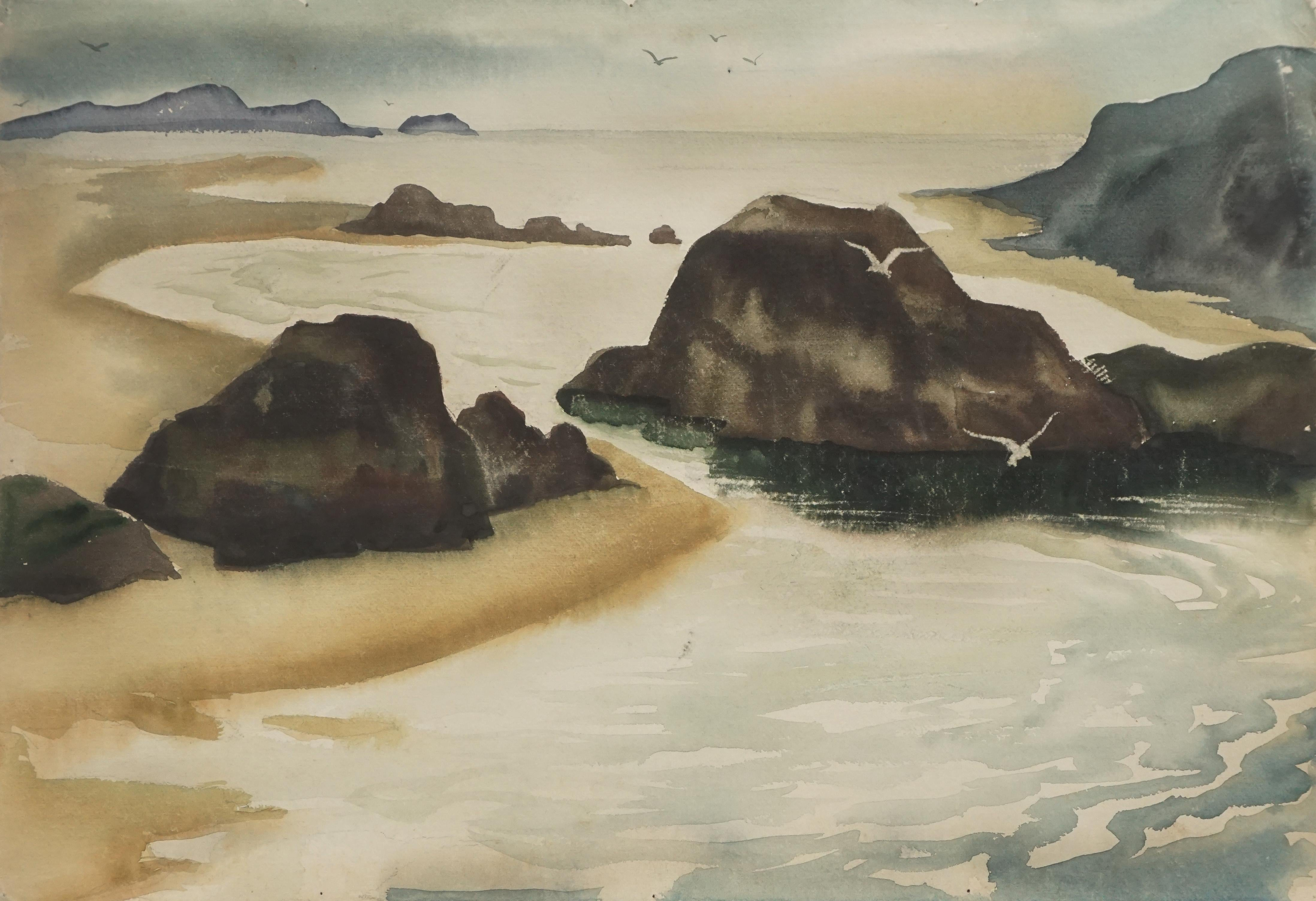Resting At Waters Edge - Mid Century Seascape