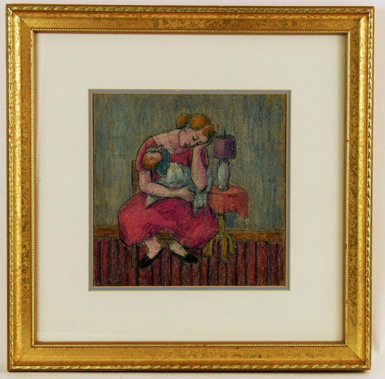 Resting Mother  with  Child Figurative Painting 3