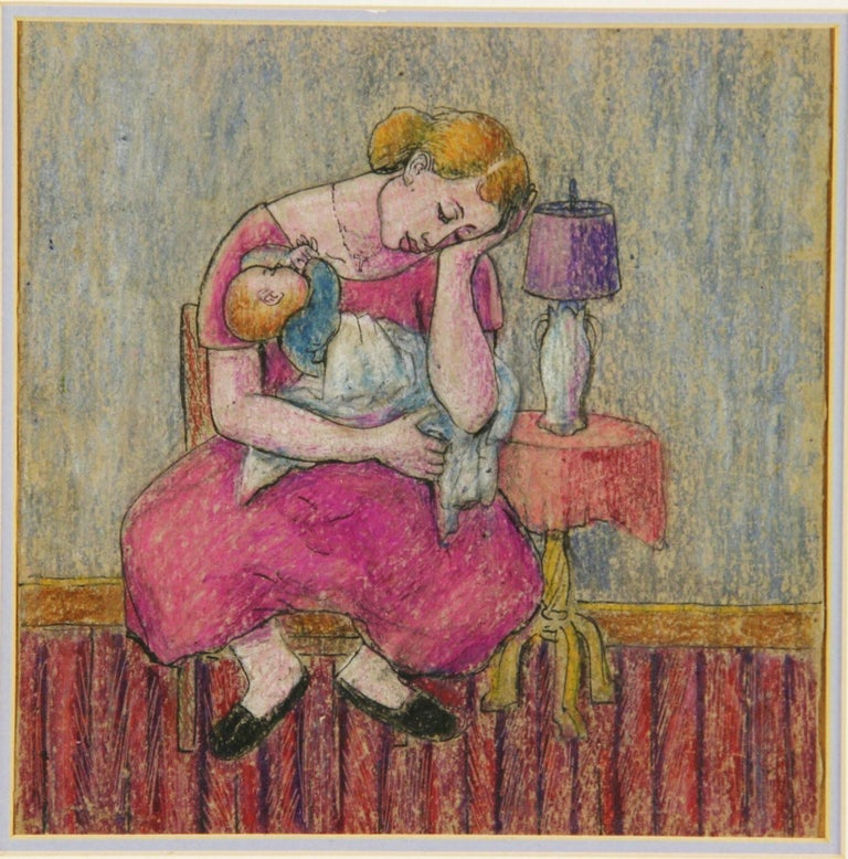 5-2620 Vintage  original colored pastel on paper displayed in a gilt wood frame under glass.Arist unknown