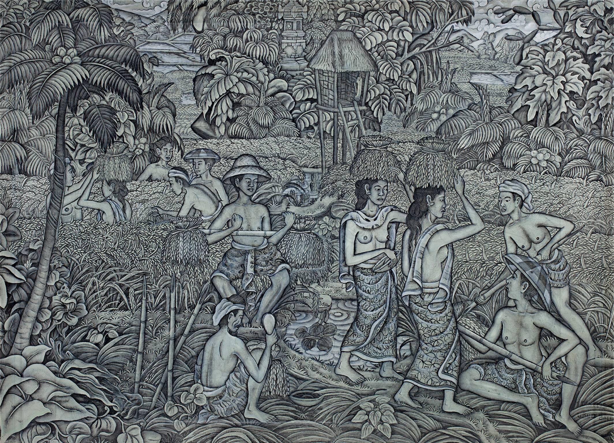 """Rice Harvest,"" Tempera on Canvas signed by Indonesian artist Kelishi"