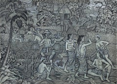 """Rice Harvest,"" Tempera on Canvas signed by Indonesian artist Kelishi"