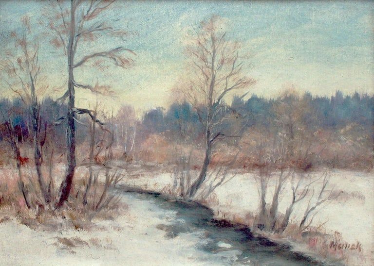 River in the Snow - 1970's Winter Landscape  - Painting by Unknown