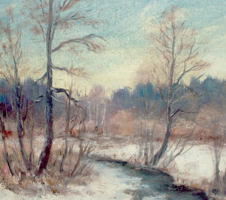 River in the Snow - 1970's Winter Landscape  - American Impressionist Painting by Unknown