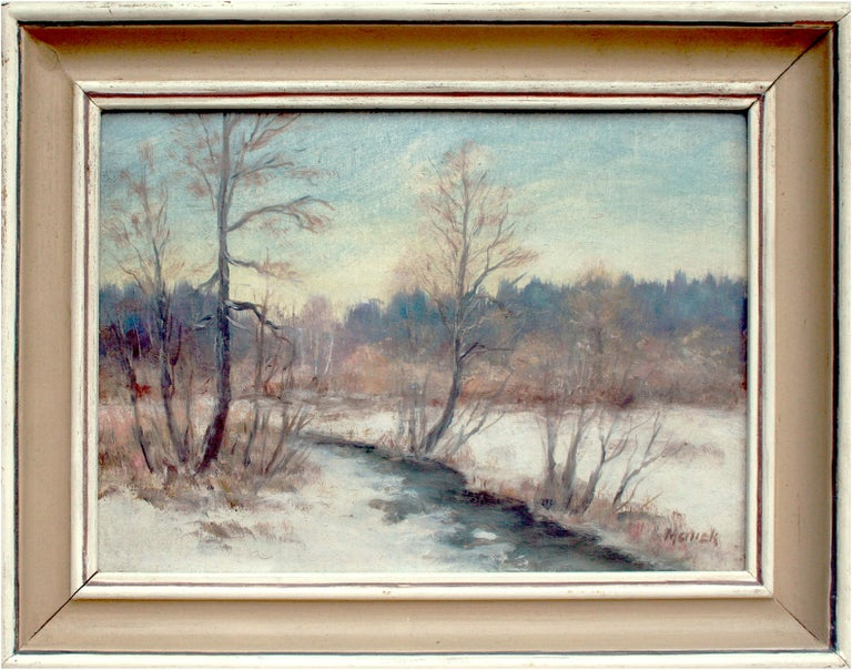Unknown Landscape Painting - River in the Snow - 1970's Winter Landscape