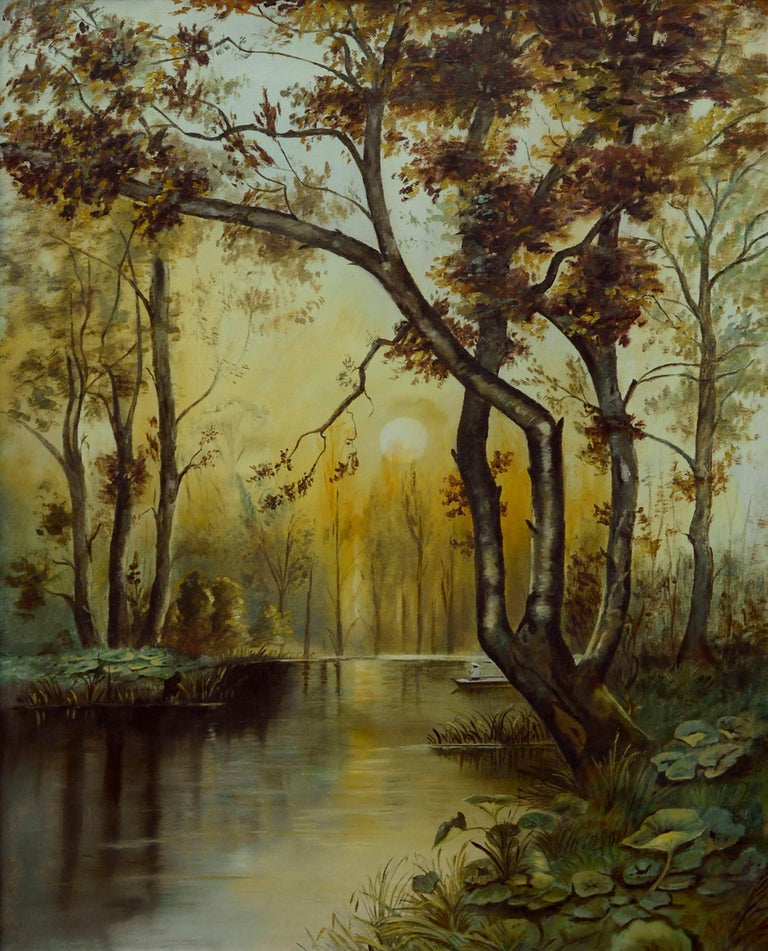 River Sunrise - Mid Century Figurative Landscape  - Painting by Unknown