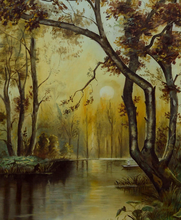 River Sunrise - Mid Century Figurative Landscape  - American Impressionist Painting by Unknown