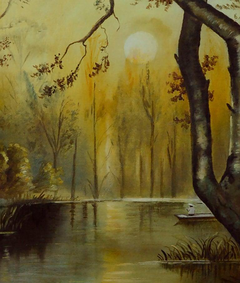 River Sunrise - Mid Century Figurative Landscape  - Brown Landscape Painting by Unknown