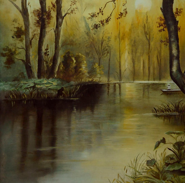 River Sunrise - Mid Century Figurative Landscape  For Sale 1