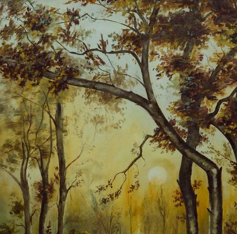 River Sunrise - Mid Century Figurative Landscape  For Sale 2