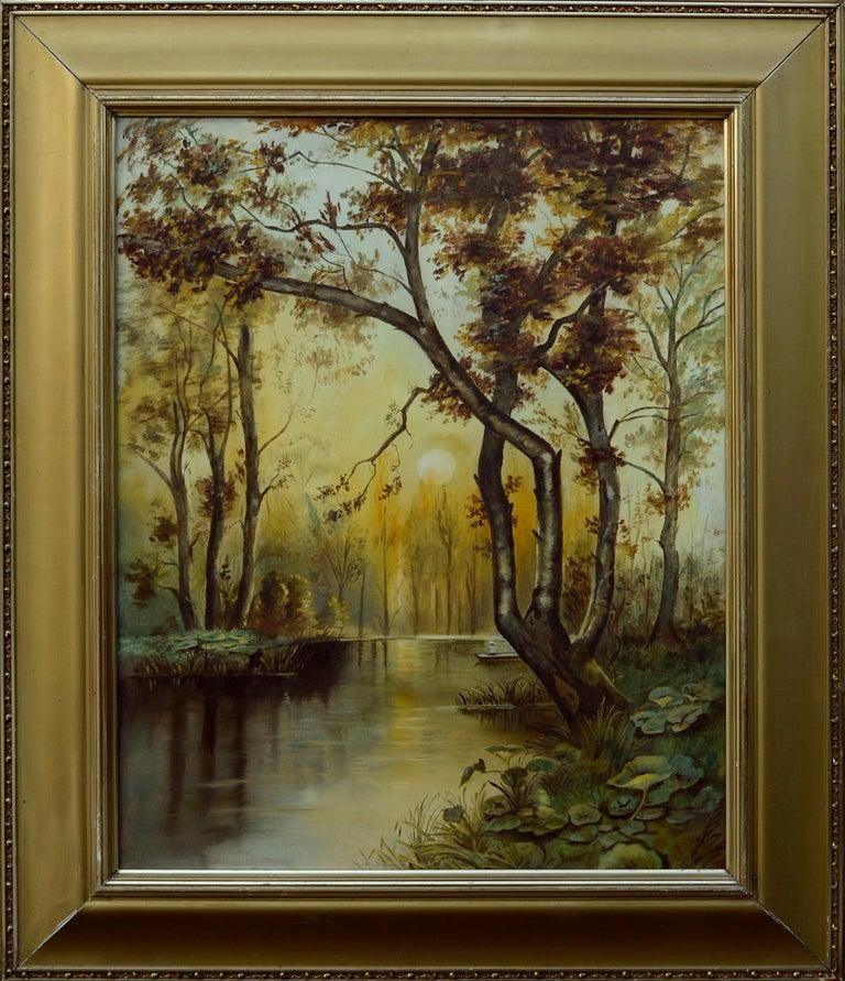 Unknown Landscape Painting - River Sunrise - Mid Century Figurative Landscape