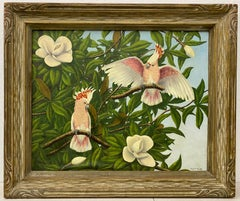 "Robert Weeks ""Pink Cockatoo's & Magnolia Blossoms"" Original Oil Painting C.1950"