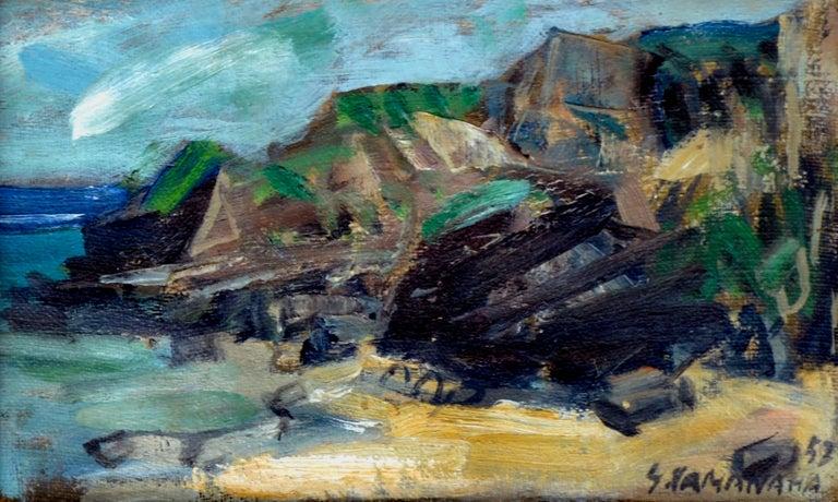 Rocky Shoreline Hawaii by S. Kamanaha 1952 - Landscape - Painting by S Kamanaha