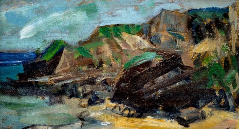 Rocky Shoreline Hawaii by S. Kamanaha 1952 - Landscape - American Impressionist Painting by S Kamanaha