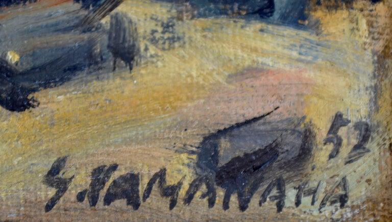 Rocky Shoreline Hawaii by S. Kamanaha 1952 - Landscape - Brown Landscape Painting by S Kamanaha
