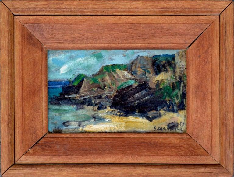 S Kamanaha Landscape Painting - Rocky Shoreline Hawaii by S. Kamanaha 1952 - Landscape
