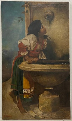 Roman Girl At Fountain After Leon Bonnat by L. Luige c.1876