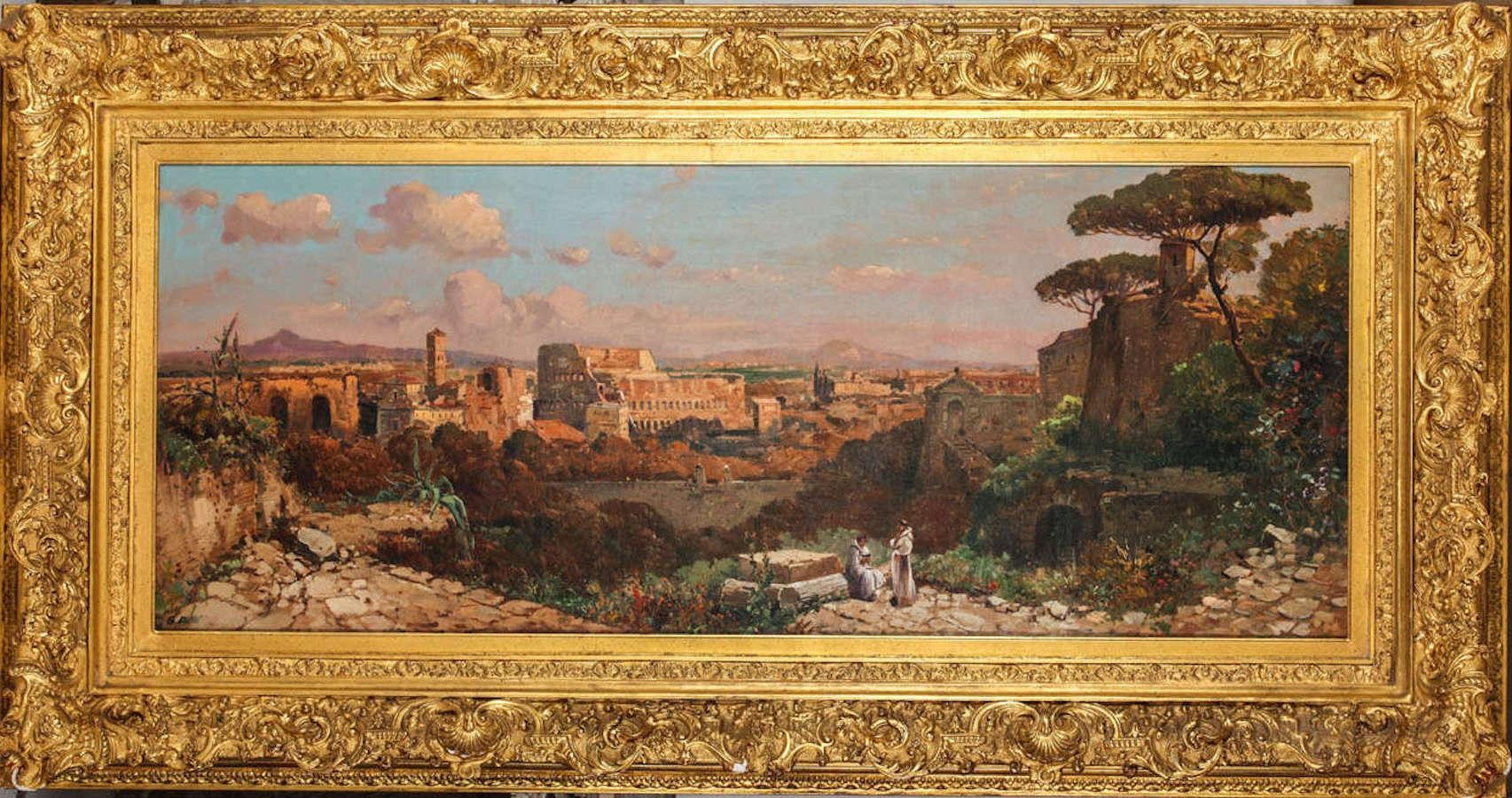 Roman Landscape Depicting the Colosseum and the Via Sacra Oil on Canvas