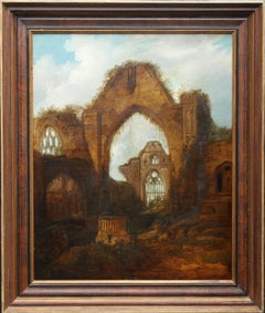 Romantic Abbey Ruins, Haughmond - British art 19thC religious oil painting