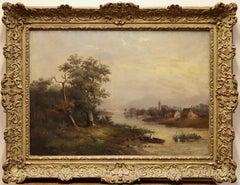 Romantic Landscape View, Oil on Canvas. 19th Century.