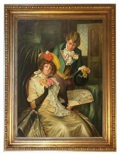 Romantic Scene - Italian Figurative Oil on Canvas Painting