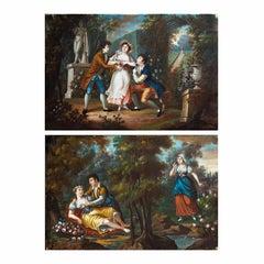 """Romantic scenes"" — luigi XVI pair of french paintings"