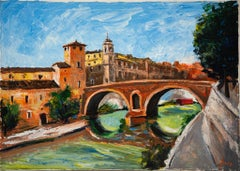 Rome, Tiber Island - Original Oil on Canvas - Late 20th Century