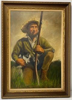 Roy Hampton Vintage Hunter W/ Bird Dog Oil Painting C.1970s