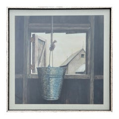 Rural Gray Toned Naturalistic Bucket in Window Still Life Farm Painting